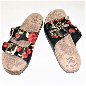 MUK LUKS Floral Embroidered Double Buckle Slides
